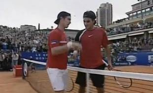 Richard Gasquet et Roger Federer, en avril 2005 à Monte-Carlo.