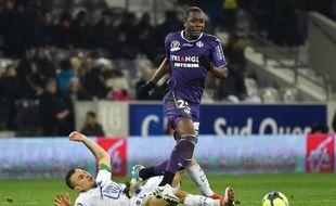 Le milieu de terrain du TFC Giannelli Imbula contre Troyes, le 27 janvier 2018 au Stadium de Toulouse.
