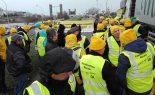 La manifestation, à l'appel de la Coordination rurale, sur le port de Dunkerque, le 16 janvier 2019.