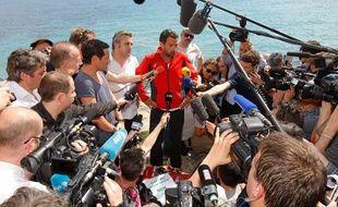 Jérôme Kerviel, le samedi 17 mai, à la frontière Française du côté de l'Italie.
