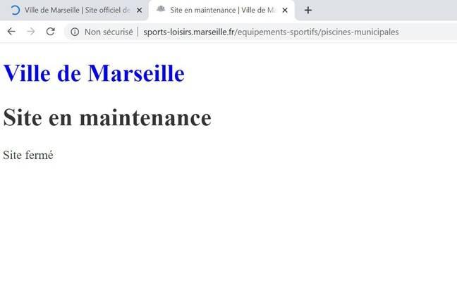 Un des sites de la mairie de Marseille, toujours en panne ce mardi.