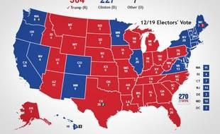 La carte finale de l'élection entre Donald Trump (306 voix) et Hillary Clinton (227 voix).