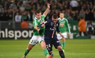 Franck Tabanou, ici au duel avec le Parisien Marco Verratti en janvier 2015, pourrait rendre de précieux services aux Verts.