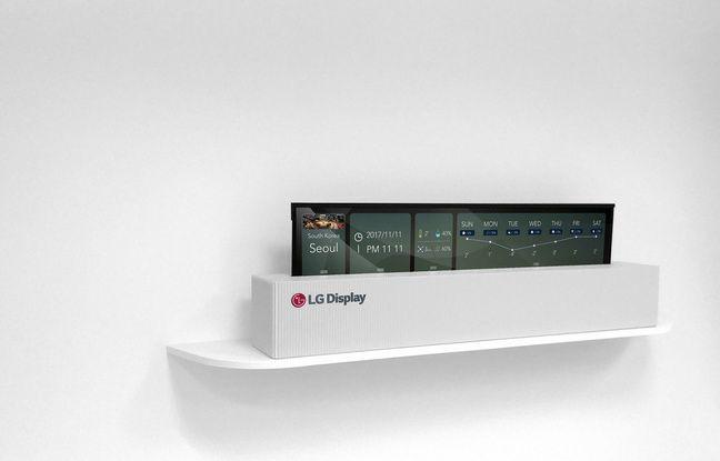 Le prototype de téléviseur OLED enroulable de LG.