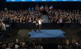 Emmanuel Macron répond aux questions d'étudiants à la George Washington University, le 25 avril 2018.