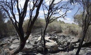 Vue le 10 mars 2015 des débris calcinés d'un des deux hélicoptères impliqués dans le crash de la veille, près de Villa Castelli en Argentine, qui a coûté la vie à dix personnes, dont trois vedettes du sport français