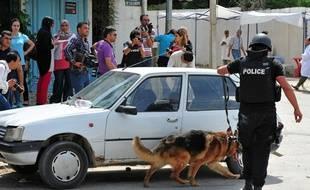 Un chien policier au travail, à Bouchoucha, le 2( mai 2015