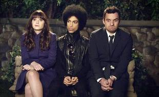 Zooey Deschanel, Prince et Jake Johnson dans l'épisode 14 de la saison 3 de New Girl