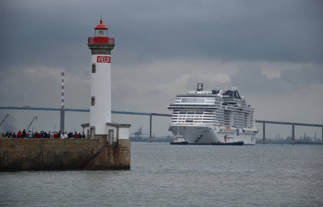 Le MSC Grandiosa, prochain paquebot à sortir des Chantiers de l'Atlantique de Saint-Nazaire, lors de ses essais en mer.