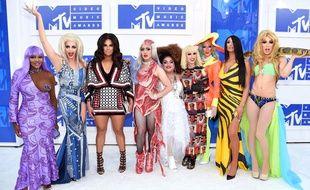 Le cast de «RuPaul's Drag Race - All Stars 2», aux MTV Video Music Awards à New York, le 28 août 2016.