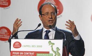 François Hollande, lors du congrès de France Nature Environnement à Montreuil, le 28 janvier 2012.