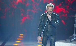 Johnny Hallyday sur le plateau de «Johnny 30 tubes de légende» sur TF1 en 2003.