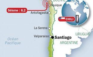 Infographie du nord du Chili, frappé par un séisme de magnitude 8,2 le mardi 1er avril.