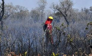 Un pompier essaie de contrôler le feu près de Charagua, en Bolivie à la frontière avec le Paraguay. Un premier bombardier, financé par le G7, a été envoyé jeudi 29 août 2019 au Paraguay pour lutter contre les incendies.