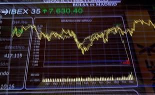 Evolution de l'indice IBEX 35 à la Bourse de Madrid, le 11 mars 2020.