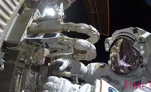 Thomas Pesquet était équipé d'une GoPro pour sa dernière sortie dans l'espace, vendredi 24 mars.
