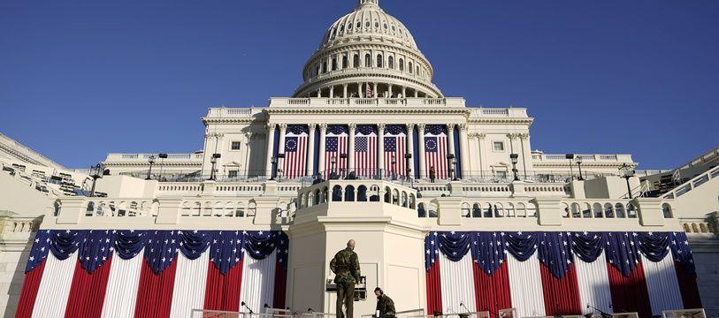 Préparatifs au Capitole de Washington le 19 janvier 2021, avant l'investiture de Joe Biden.