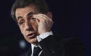 Nicolas Sarkozy lors de son discours àCernay (Haut-Rhin), le 25 avril 2012.