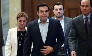 Le Premier ministre grec Alexis Tsipras à son arrivée à une réunion avec les dirigeants politiques le 6 juillet 2015 à Athènes