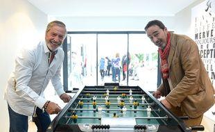 Didier Roustan (à d.), en compagnie de Jean-Claude « le grand argentier du foot français » Darmon.
