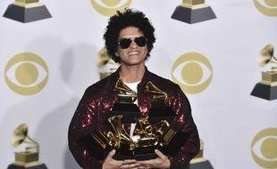 Bruno Mars aux Grammy Awards, le 28 janvier 2018.