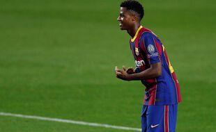 Ansu Fati lors de la victoire du Barça contre Ferencvaros en Ligue des champions le 20 octobre 2020.