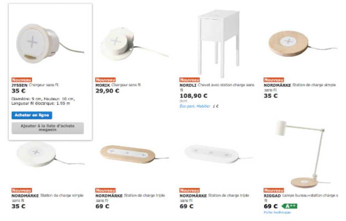 Petits meubles avec chargeurs à induction intégrés ou chargeurs à incorporer soi-même sont en vente chez Ikea. – DR
