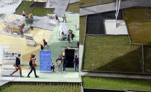 Des visiteurs devant le pavillon dédié au riz basmati, à l'Expo universelle 2015 à Milan (Italie). Illustration environnement, écologie.