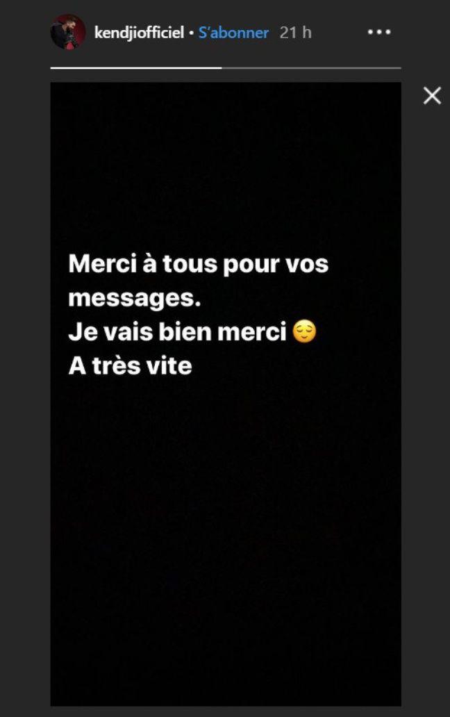 Kendji Girac a rassuré ses fans dans une story Instagram