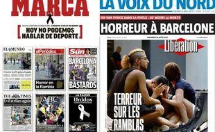 L'émotion à la une de la presse espagnole et française après les attentats de Barcelone et Cambrils.