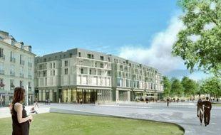 Image de synthèse de la façade sud et du parvis du futur ensemble à Nantes.