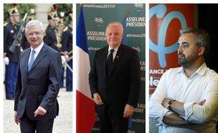 Claude Bartolone, député sortant qui ne se représente pas, François Asselineau et Alexis Corbière, candidats aux législatives en Seine-Saint-Denis.