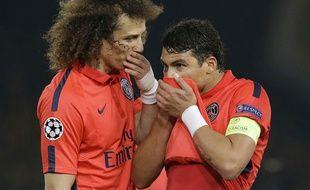 David Luiz et Thiago Silva, le 11 mars 2015 à Londres.