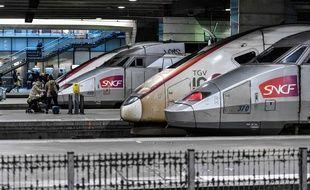 Deux TGV en gare de Paris-Montparnasse