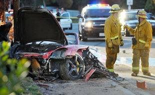 La Porsche dans laquelle Paul Walker est décédé, le 30 novembre 2013, à Los Angeles.