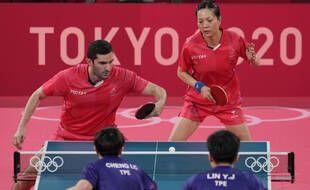 Les Français Emmanuel Lebesson et  Jia Nan Yuan ont terminé quatrièmes du double mixte des JO de Tokyo, le 26 juillet 2021.