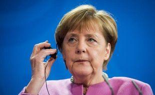 La chancelière allemande Angela Merkel lors d'une conférence de presse à Berlin, le 16 février 2016