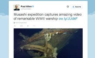 Capture d'écran compte Twitter de Paul Allen, le 4 mars 2015.