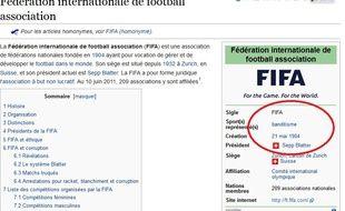 La page Wikipedia de la Fifa a été détournée par des plaisantins.