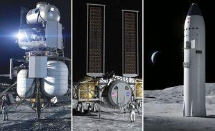 Les prototypes d'atterrisseurs lunaires de Blue Origin, Dynetics et SpaceX, ont été retenus par la Nasa.