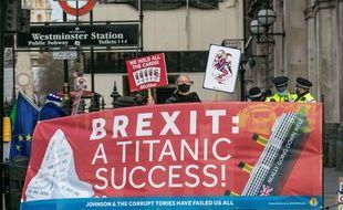 Une Manifestation contre le Brexit, à Londres le 16 décembre 2020.