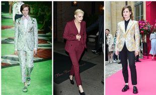 Défilé Gucci Hommes Printemps-été 2017, l'actrice Kristen Stewart, la chanteuse Christine and The Queens.