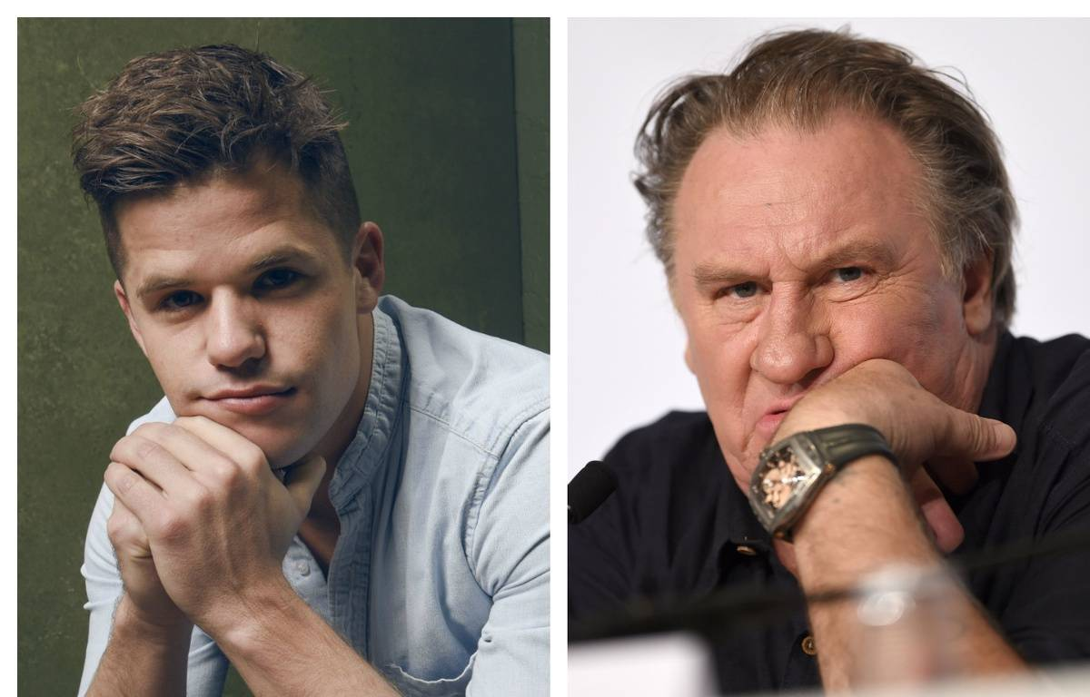 Charlie Carver et Gérard Depardieu. – Larry Busacca / GETTY IMAGES NORTH AMERICA - ANNE-CHRISTINE POUJOULAT