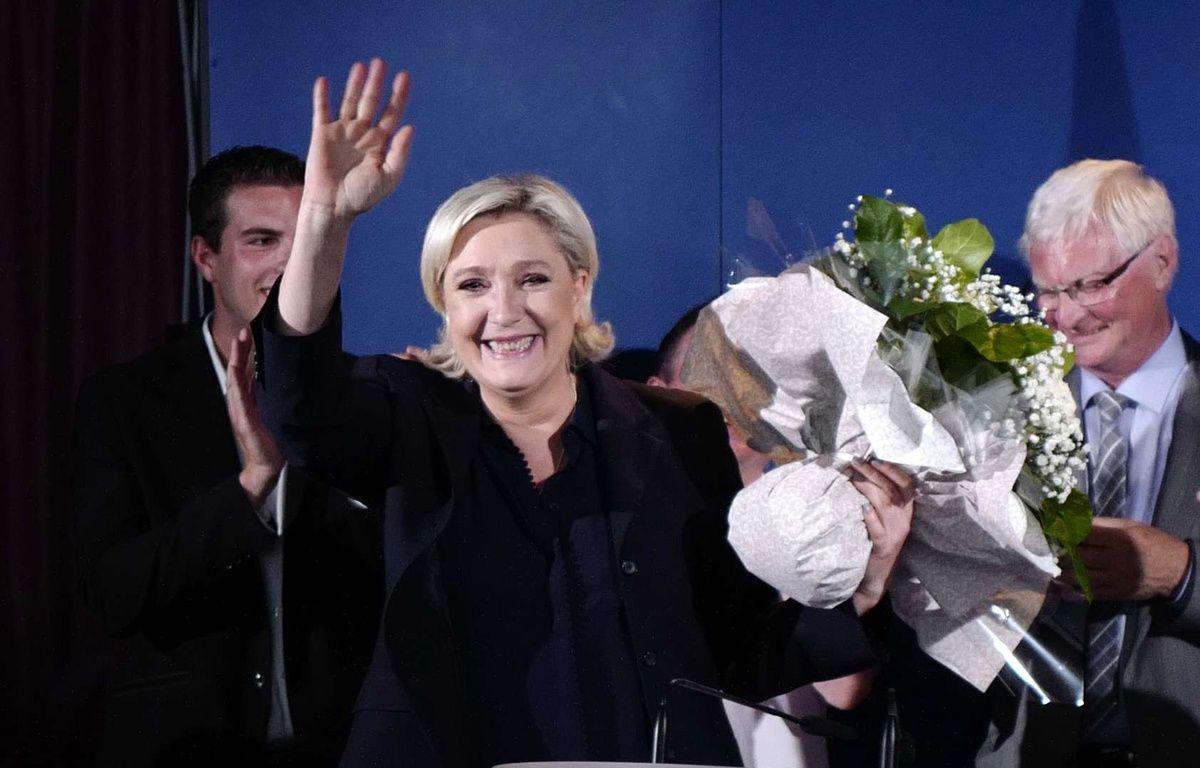 La présidente du FN Marine Le Pen, élue du Pas-de-Calais à l'issue du second tour des élections législatives, le 18 juin 2017 à Hénin-Beaumont. – Michel Spingler/AP/SIPA