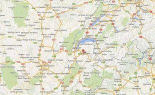 Google map de Bonneville (Haute-Savoie)