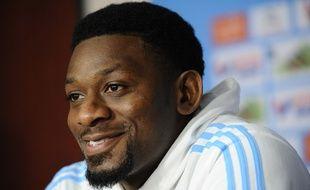 Abou Diaby en conférence de presse à Marseille le 16 mars 2016.