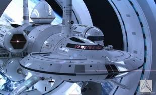 Un concept de vaisseau spatial de la Nasa, le IXS Enterprise, par l'artiste Mark Rademaker.