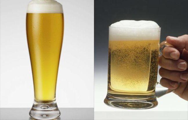 Un verre de bière évasé et une chope.