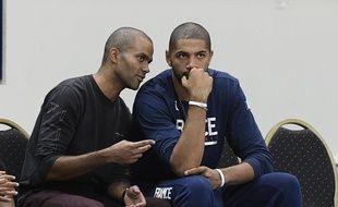 Tony Parker avec son directeur des opérations basket à l'ASVEL, Nicolas Batum (à droite).