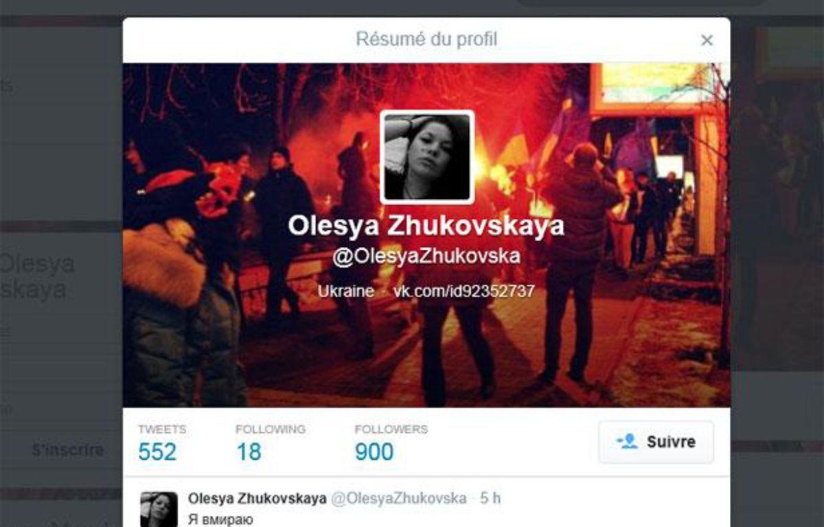 Capture du compte Twitter d'Olesya Zhukovskaya, une manifestante ukrainienne qui a annoncé sa mort en direct sur le réseau social, le 20 février 2014. – Capture d'écran / Twitter